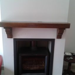 Walnut Timber Mantel full Width of Chimney Brest