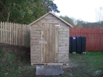 A Garden Shed with the Door Closed