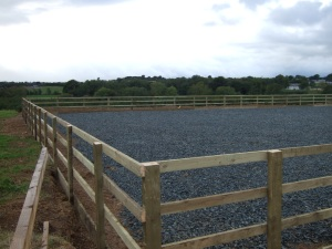 Horse Arena with 4-Bar Post & Rail Fencing