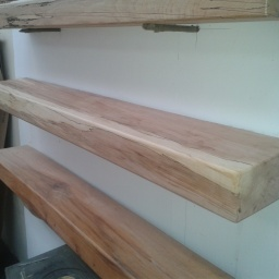 Spalted Beech Floating Mantel