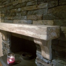 Spalted Beech in Home with Stonework & Standard Corbel