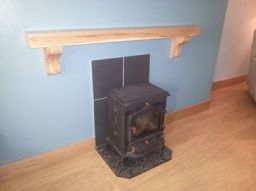 Spalted Beech Mantel In Position Above a Stove