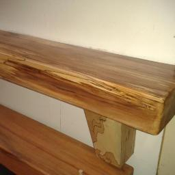 Spalted Beech with Triangular Corbels and Clear Lacquer Finish Right Hand Side