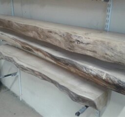 Selection of Waney Edged Oak Timbers in Workshop