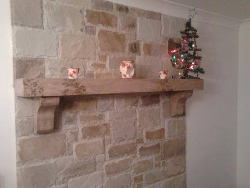 Irish Oak Mantel with Christmas Decorations