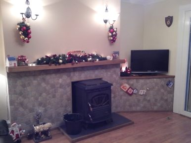 Oak Mantel with Christmas Garland