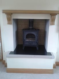 Irish Oak Mantel in Position in New Home