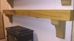 Old Irish Oak Mantel with Reducing Corbels