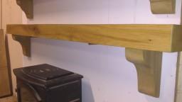 Old Irish Oak Mantel with Reducing Corbels