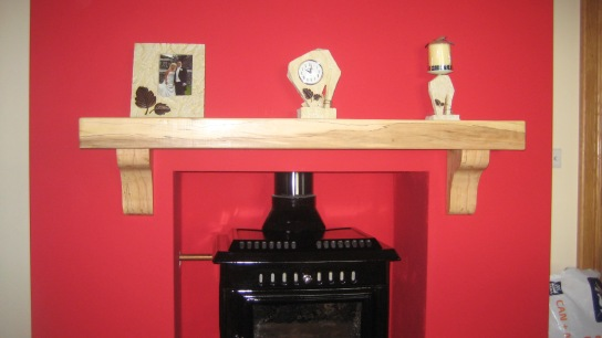 Spalted Beech Mantel with New Stove