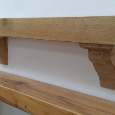 Irish Oak Mantel with Stepped Corbels