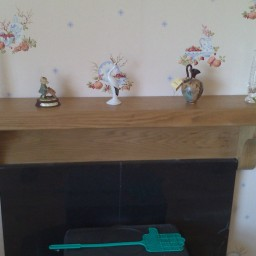 Irish Oak Cottage Mantel with Backboard