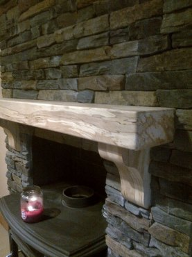 Spalted Beech Mantel on Stone Work