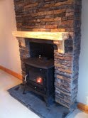Spalted Beech Mantel on Stone Chimney Brest