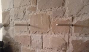 Re-bar hidden fixing to support a Timber Mantel