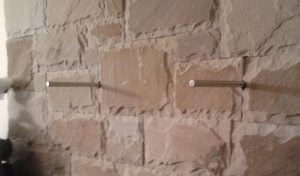 Re-bar hidden fixing to support a Timber Mantel