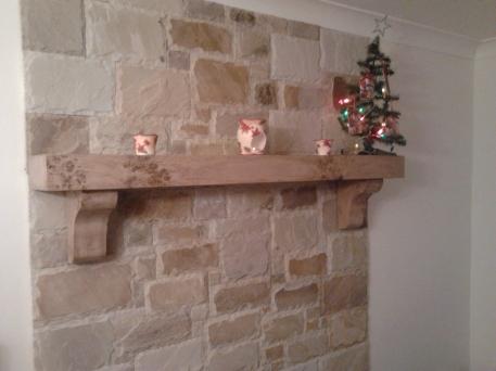 Spalted Beech Christmas Mantel on Brickwork