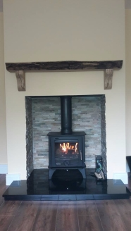 Spalted Beech Timber Mantel with Corbels