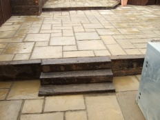 Stepped Patio with Sleeper Kerbing