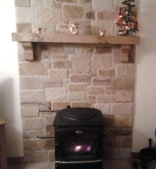 Spalted Beech Christmas Mantel on Brickwork
