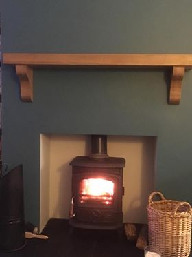 Oak Mantel on Teal Wall Nov 2017 without Mirror