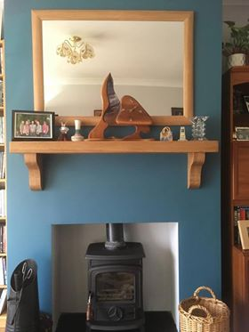 Oak Mantel on Teal Wall Nov 2017 with Oak Mirror