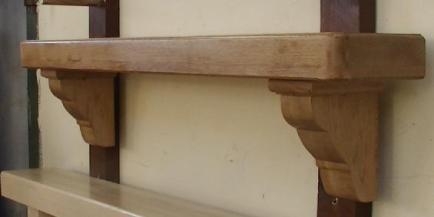 American Oak Mantel with Ornate Corbels