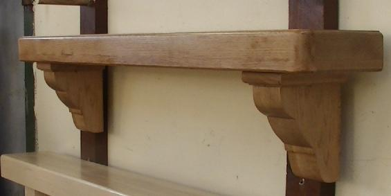 American Oak Mantel with Ornate Corbels