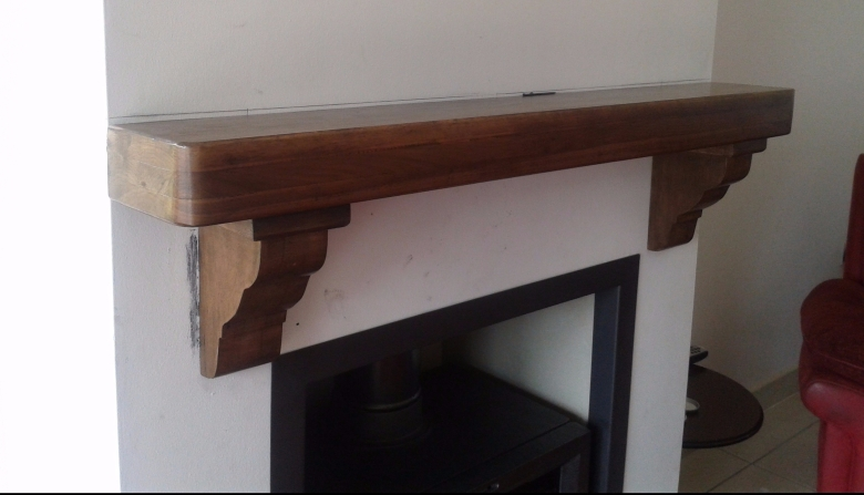Walnut Timber Mantel full width of Chimney Brest left view.jpg